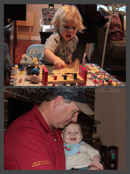 Top: Ian with the toysBottom: Uncle Kip promptly stole Baby Sid as soon as we got there