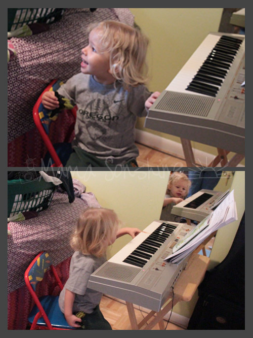 Ian was excited to see Audrey and play with her piano