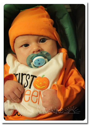 Baby Sid's first Halloween, with a binky