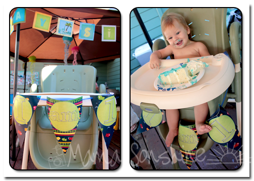 Highchair bunting and The Birthday Boy