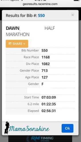 My Race Results_MamaSonshine